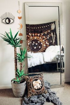 Bedroom Vibes ✨ Zella Vita Tapestry & All Seeing Eye by Lady Scorpio | Design by @kaitlynjohnsondesign ☽ ✩ Product by Lady Scorpio | Bohemian Bedroom String Lights Polaroids Boho Bungalow || Save 25% off all orders with code PINTERESTXO at checkout | Shop Now LadyScorpio101.com