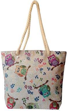 bolsa feminina tecido coruja - sacola forrada zíper oferta