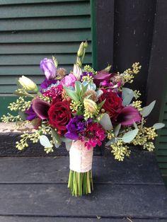 Burgundy/Purple Bouquet for Lisa - with Black Callas, Black Beauty Roses, Purple Stock, Lisianthus, Seeded Euc, Succulents etc...