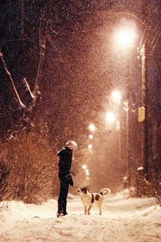 Snowy night, a girl and her friend
