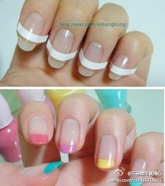 french nail tips with striping tape