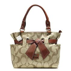 Look Here! Coach Poppy Bowknot Signature Medium Khaki Totes AMZ Outlet Online