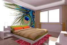 Peacock Feather Clipart Art 3D Full Wall Mural Photo Wallpaper Home Decal Kids