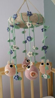 Handmade crochet baby nursery cot mobile with owls and flowers or stars for girls and boys in colour Crochet Baby Mobiles, Crochet Mobile, Baby Nursery Decor, Baby Decor, Crochet Home, Crochet For Kids, Cot Mobile, Etsy Handmade, Handmade Items
