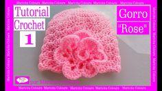 "Gorro Bebé ""Rose"" Crochet (1) por Maricita Colours Tutorial Gratis Ganc..."