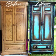 """It's amazing what changing the bottom trim, adding feet, and changing unsightly hardware will do for a piece.  This Boho Armoire was hand painted in several custom mixed colors and DIY Chalk Paint """"Old 57"""" and """"Weathered Wood"""". Layers of black, rust, and shades of turquoise and aqua blues hint of an adventurous history for this 1980's oak armoire makeover."""