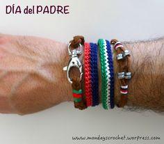 Pulseras de crochet para papá. Bracelets, Jewelry, Diy, Boy's Day, Crafts For Kids, Flowers, Jewlery, Jewerly, Bricolage