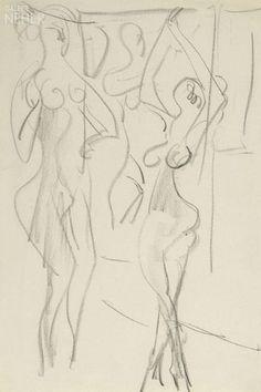 """Ernst Ludwig Kirchner: """"Zwei Akte vor Aktgemälde"""", 1928"""