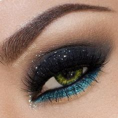 Turquoise and black smokey eye #smokey #dark #glitter #bold #eye #makeup #eyes #dramatic