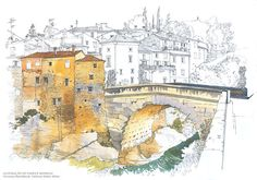 Focus areas in the image have been rendered in watercolours, leaving a pen contour sketch in the background.