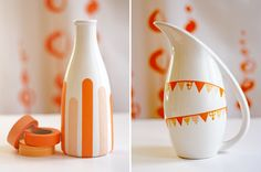 Using fun masking tape to temporarily dress up basic objects. Love this! Original tutorial at http://howaboutorange.blogspot.com/2011/05/diy-decorating-with-masking-tape.html
