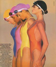 """""""Endless Summer"""", Elle US, June 1986 Photographer : Gilles Bensimon Models : Elle MacPherson, Famke Janssen, Gail O'Neill"""