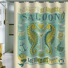 DENY Designs Anderson Design Group Seahorse Saloon Shower Curtain