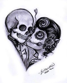 ... Skull Couple Tattoo on Pinterest | Tattoos Tattoo couples and Skull