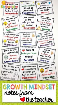 These Growth Mindset Notes from the Teacher are perfect for any grade classroom! Are you teaching your students about growth mindset and fixed mindset? Create a culture of success, perseverance, and motivation with these growth mindset teacher not Growth Mindset Classroom, Growth Mindset Activities, Classroom Norms, Classroom Ideas, Behavior Management, Classroom Management, Kumon, Fixed Mindset, Success Mindset