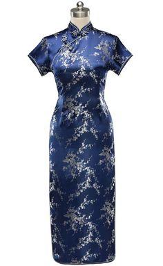 Periwing Traditional Navy Blue Satin Blossom Pattern Short Sleeve Qipao Cheongsam Dress