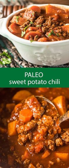 Paleo - paleo sweet potato chili / chili recipe / spicy chili / slow cooker chili / healthy chili / gluten free / grain free / sugar free via Tastes of Lizzy T - It's The Best Selling Book For Getting Started With Paleo Crock Pot Recipes, Spicy Recipes, Beef Recipes, Cooking Recipes, Healthy Recipes, Soup Recipes, Paleo Food, Cooking Games, Ground Turkey Recipes Paleo