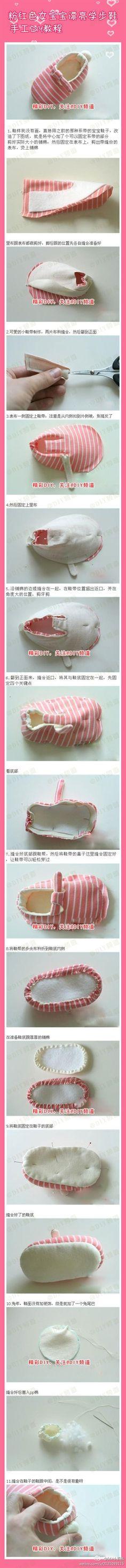 Beautiful pink female baby toddler shoes handmade diy tutorial