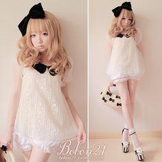 BOBON21夏新款 黑白配 花苞袖褶皱娃娃领菱形蕾丝薄纱娃娃衫T0819-淘宝网