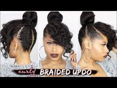 FRENCH BRAIDED CURLY UPDO ➟ Natural Hair How-To [Video] - Black Hair Information