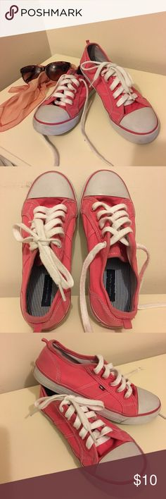 Hilfiger sneakers Hot Pink low top sneakers. Used with a slight sign of wear. Size US 3Y or Euro 35.  This fits on ladies with size 5.5 or 6.  Roomy inside. Tommy Hilfiger Shoes Sneakers