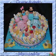 Tarta bautizo chuches  1piso redonda Minnie y Mickey