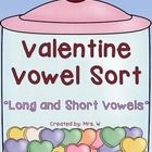 Valentine Vowel Sort – Long and Short Vowels  * Match the candy hearts with the correct candy jar  * Includes short and long vowel sounds - a,e,i,o...