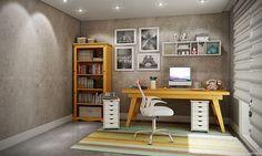 Conjunto para Escritório Home Office com Mesa, Cadeira, Módulo Aéreo, 2 Gaveteiros e Estante Amarelo/Branco - Caaza