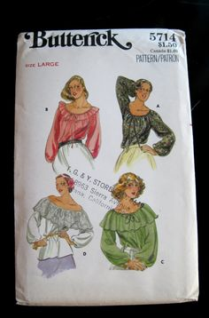 1970s Peasant Blouse Pattern Bust 38 to 40 by QuiltCitySue on Etsy, $8.50