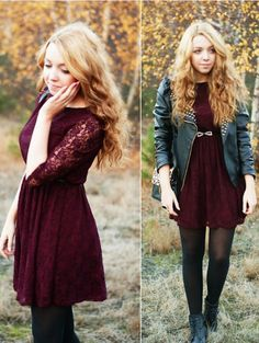 maroon lace dress, leather, tights
