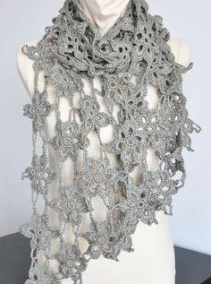 FLORAL COTTON - Crochet Cotton Ribbon Yarn Scarf/Shawl