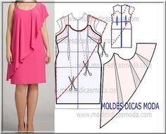 Risultati immagini per moldesedicasmoda Fashion Sewing, Diy Fashion, Fashion Dresses, Sewing Clothes, Diy Clothes, Clothes For Women, Dress Sewing Patterns, Clothing Patterns, Women's Clothing