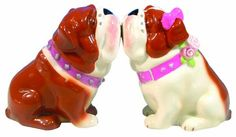 Westland Giftware Mwah, Magnetic Bulldogs Salt and Pepper Shaker Set, 3-inch. These cute shakers have a magnetic insert to keep them together.