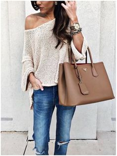 **** Get beautiful looks like this one today from Stitch Fix delivered right to your door! Obsessed with this entire look!  Love the slouchy knit sweater with distressed jean and oversized bag.  Easy breezy look!  Stitch Fix Spring, Stitch Fix Summer, Stitch Fix Fall 2016 2017. Stitch Fix Spring Summer Fall Fashion. #StitchFix #Affiliate #StitchFixInfluencer