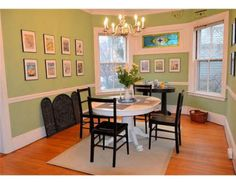 two tone dining room with chair rail - light color above/dark ...