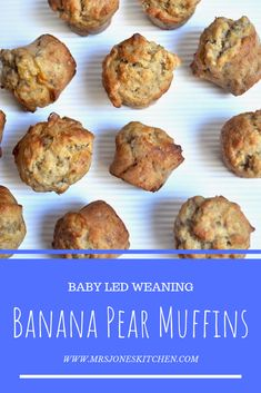 Simple healthy banana muffins which are naturally sweetened with pear. They are a delicious snack for baby led weaning, toddlers or kids! Pear Dessert Recipes, Pear Recipes, Banana Recipes, Baby Food Recipes, Food Baby, Baby Foods, Muffin Recipes, Desserts, Breakfast Bars Healthy