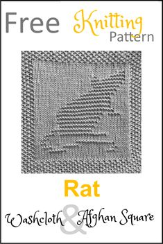 Free Rat Dishcloth or Afghan Square Knitting Pattern Knitted Dishcloth Patterns Free, Knitting Squares, Knitted Washcloths, Knit Dishcloth, Easy Knitting, Baby Knitting Patterns, Knitted Blankets, Afghan Patterns, Crochet Afghans