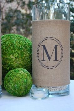 Personalized Burlap. I love the look of this for a coffee table or side table!