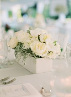 White and Cream Flowers in Wooden Box Centerpiece 1 - james to make a wooden box to the write lengh and height then paint??????