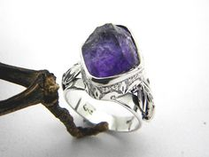 Raw amethyst ring sterling silver, raw stone artisan ring, rough dark purple amethyst raw gemstone ring size 8, February birhstone