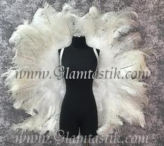 These are absolutely AMAZING!!! So much work has been put into these as each and every feather has been hand placed. The ostrich feathers are top quality and measures approx. 50 wide and 50 tall. They are super light weight and have white elastic shoulder straps and extremely comfortable to wear! Tulle Balls, Tulle Ball Gown, Ostrich Feathers, Black Feathers, Swan Lake Wedding, Custom Corsets, Burlesque Corset, The Ostrich, Next Dresses