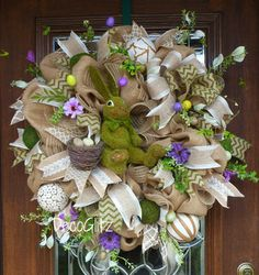 Burlap EASTER Wreath with MOSS BUNNY by decoglitz on Etsy
