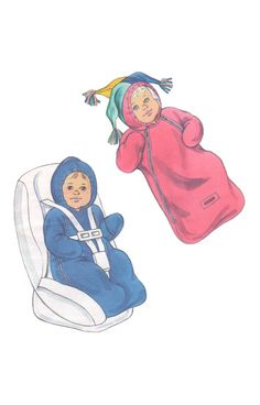 Kwik Sew 3212 2000s Sewing Pattern Newborn Infant Baby Bunting Carseat Snowsuit Fleece Double Zipper