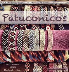 """""""Patuconicos"""" Pulseras de hilo hechas a mano en España con nudo de Macramé.     https://www.facebook.com/pages/Patuconicos-lana-y-algodón/133197553517428?ref=hl   http://patuconicos.blogspot.com.es/search/label/Pulseras%20de%20hilo https://twitter.com/patuconicos/media"""