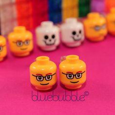 FUNKY LEGO HEAD EARRINGS CUTE KITSCH FUN NOVELTY 80s RETRO STYLE SWEET EMO GIRLS #bluebubble #Stud
