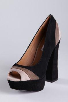 Shoe Bazaar  Steve Madden Triple Tone Peep Toe Platform Pump  $35.00
