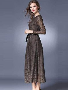 f09f02d5f804 Buy Vintage O-Neck Lace Hollow Out Maxi Dress at dresssurefy.com