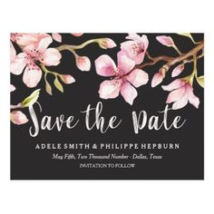 #floral - #Watercolor Cherry Blossom Black Save the Date Postcard