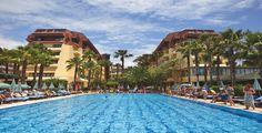 Turkije, Alanya, Meryan Hotel 5*.  Kindvriendelijk, goede service, gezellige sfeer en vele faciliteiten.   Aan eigen zandstrand, op 30 km van Side en Alanya en op circa 10 km van Avsallar, waar u kunt winkelen
