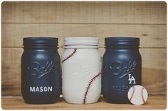 Baseball painted mason jar, love this idea Mason Jar Projects, Mason Jar Crafts, Bottle Crafts, Diy Projects, Bottle Art, Best Baby Shower Gifts, Baby Shower Fun, Fun Baby, Baby Boys